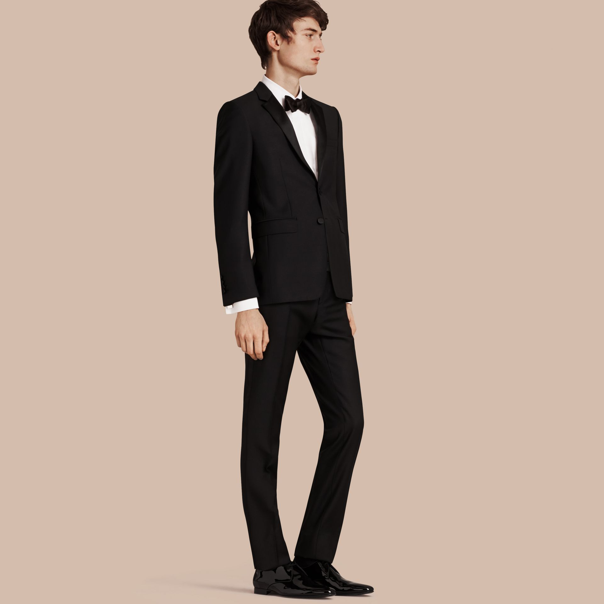 Black Slim Fit Wool Mohair Half-canvas Tuxedo - gallery image 1
