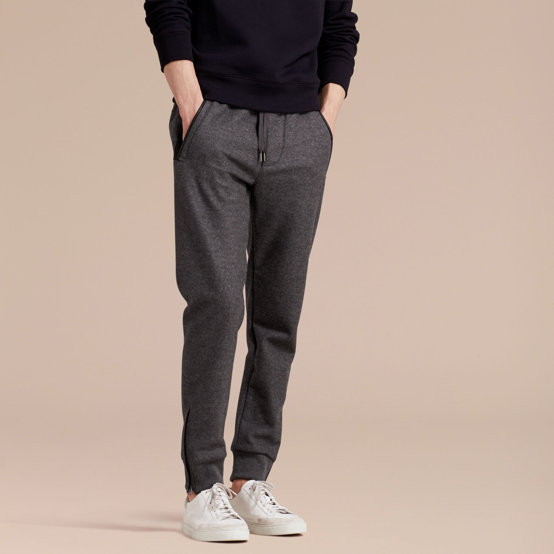Mid grey melange Leather-trimmed Technical Wool Sweat Pants - gallery image 6
