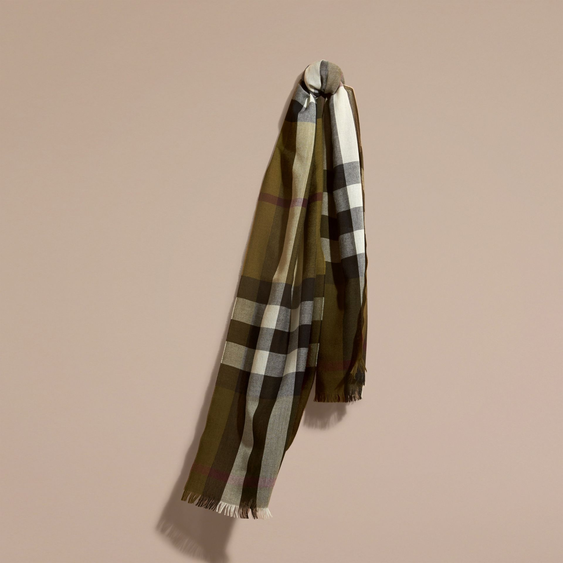 Olive Lightweight Check Wool Cashmere Scarf Olive - gallery image 1