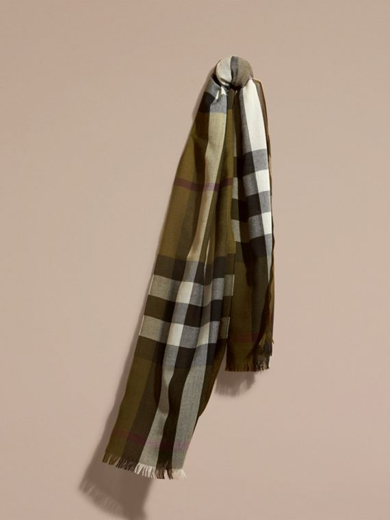 Lightweight Check Wool Cashmere Scarf Olive
