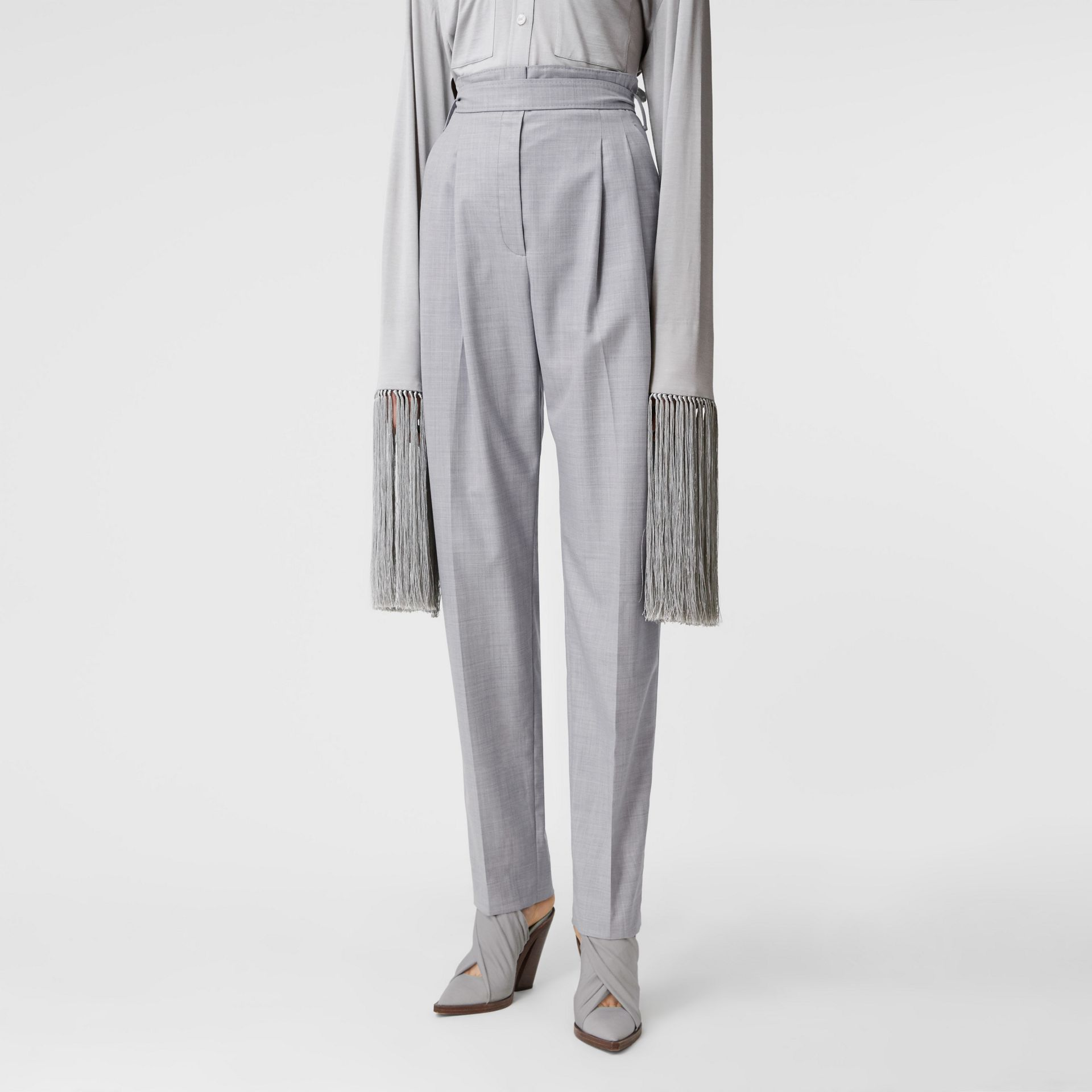 Cut-out Detail Wool Jersey Tailored Trousers in Cloud Grey - Women | Burberry Canada - gallery image 5