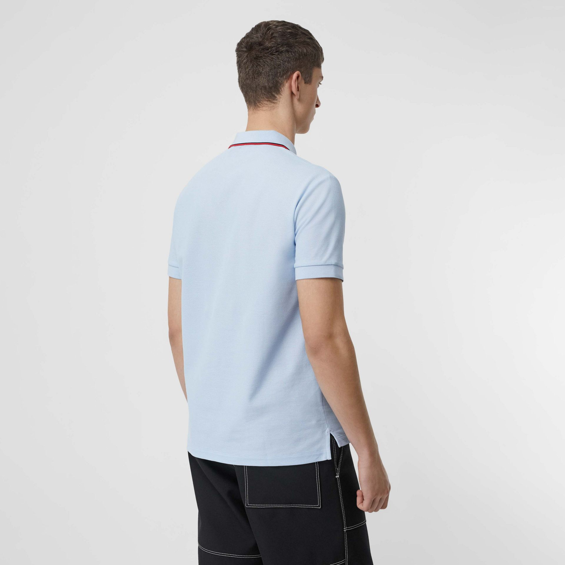 Icon Stripe Placket Cotton Piqué Polo Shirt in Pale Blue - Men | Burberry Canada - gallery image 2