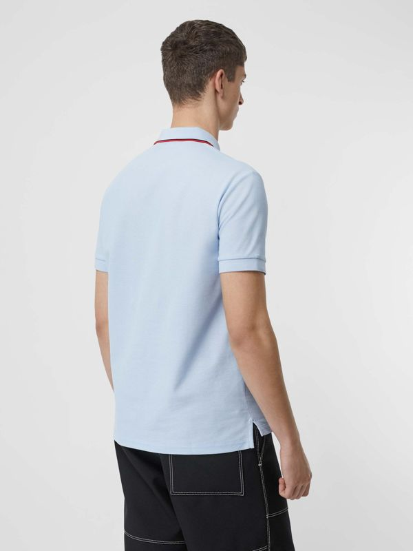 Icon Stripe Placket Cotton Piqué Polo Shirt in Pale Blue - Men | Burberry United Kingdom - cell image 2
