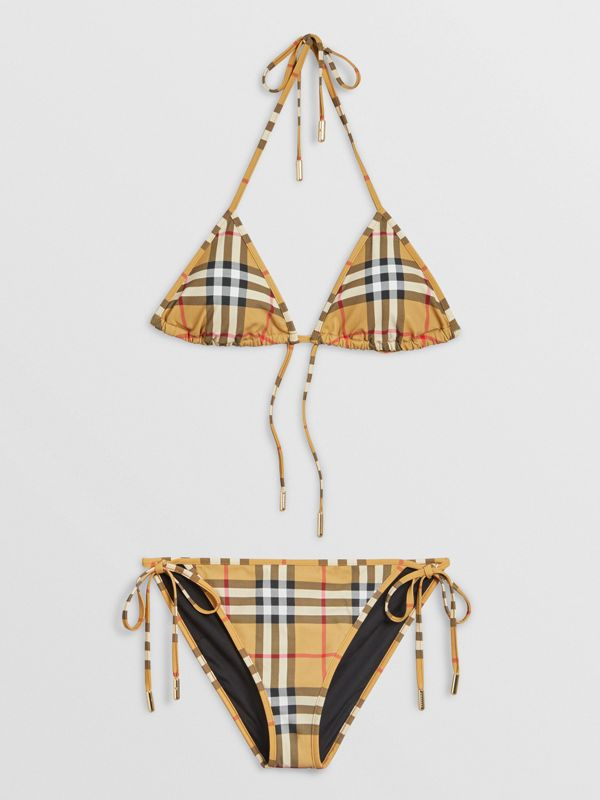 Vintage Check Triangle Bikini in Camel - Women | Burberry Canada - cell image 2