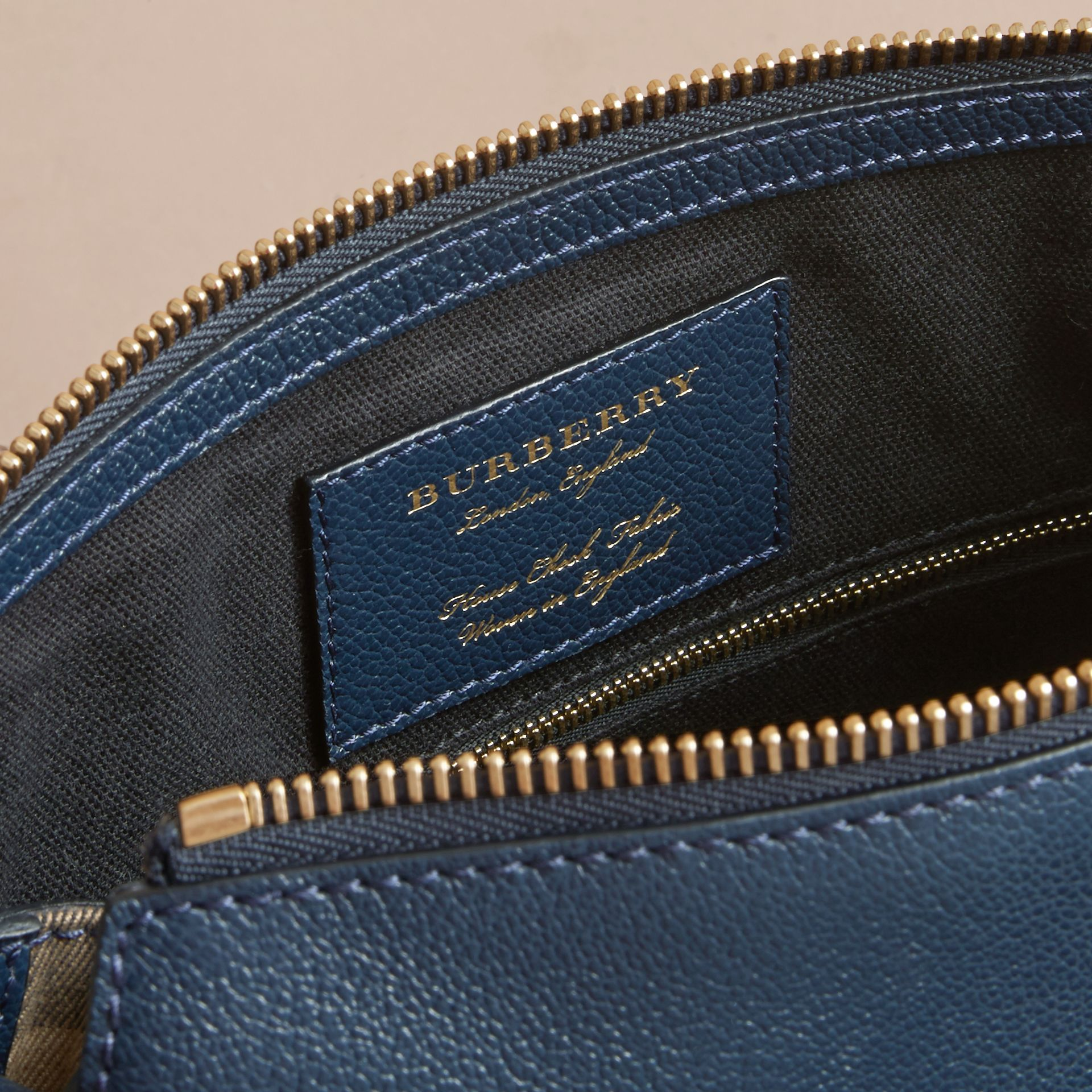 Buckle Detail Leather and House Check Crossbody Bag Blue Carbon - gallery image 5
