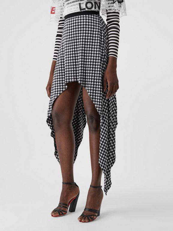 Scarf-tie Detail Gingham Mini Skirt in Black - Women | Burberry - cell image 1