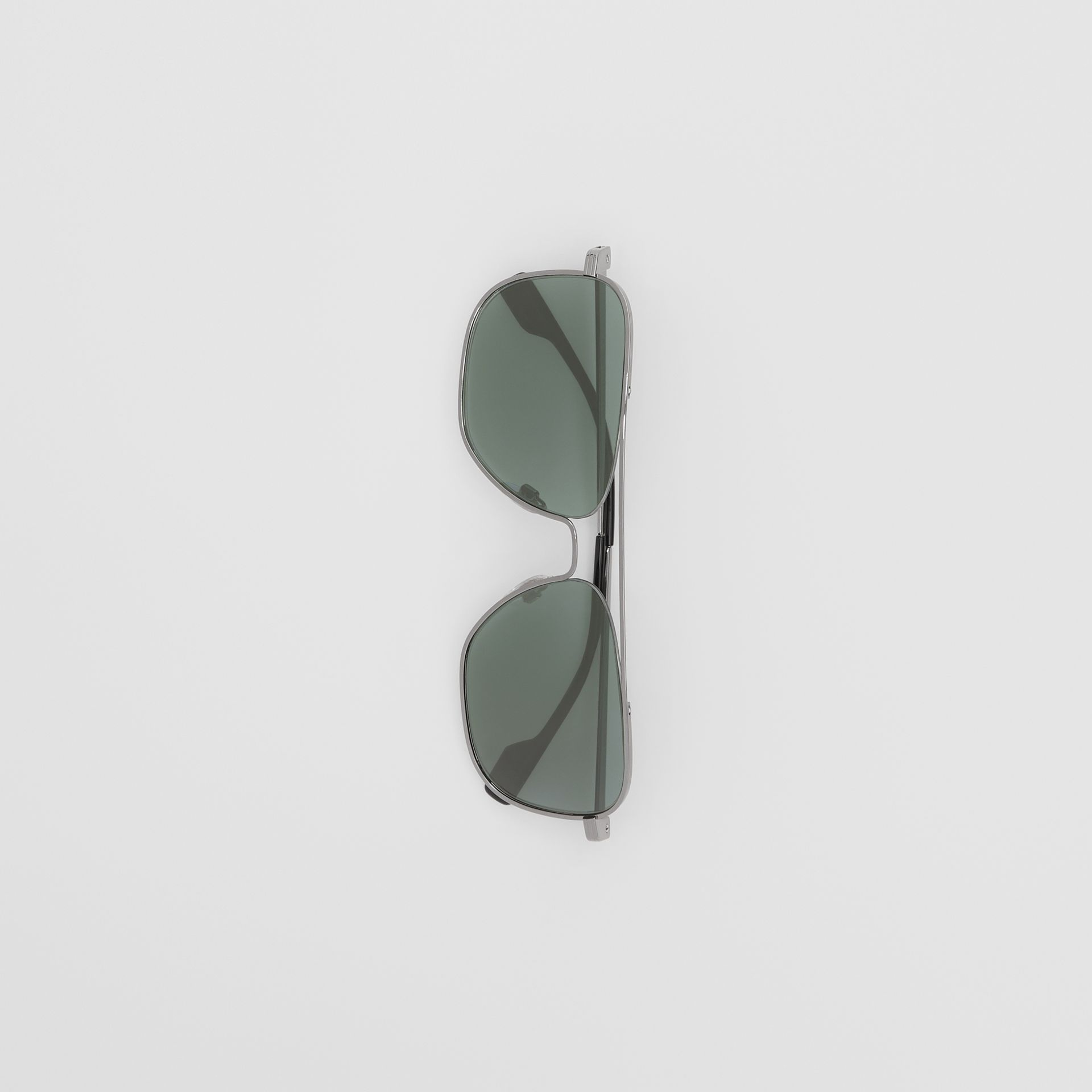 Top Bar Detail Square Frame Sunglasses in Silver - Men | Burberry - gallery image 3