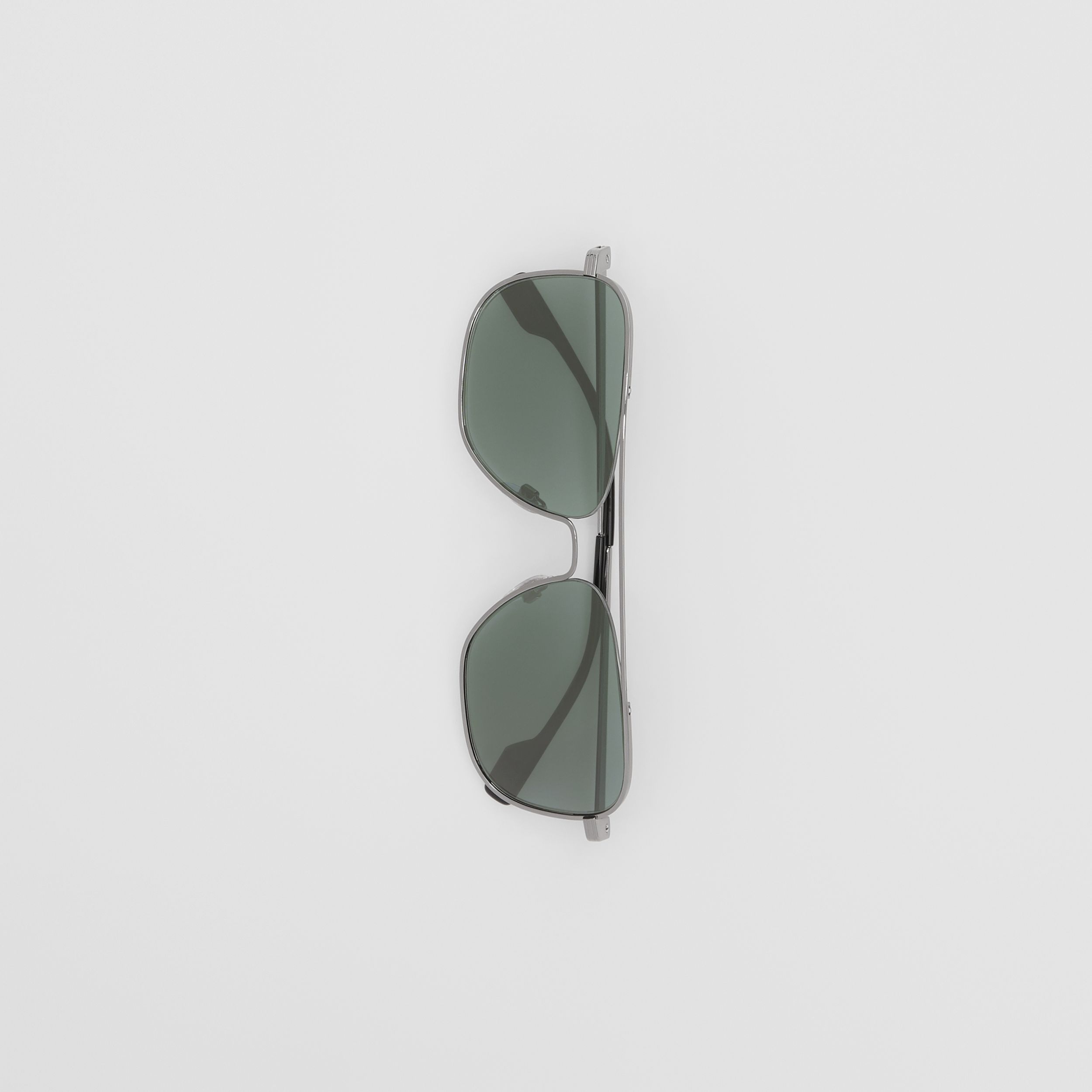 Top Bar Detail Square Frame Sunglasses in Silver - Men | Burberry - 4