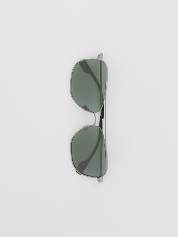 Top Bar Detail Square Frame Sunglasses in Silver - Men | Burberry - cell image 3