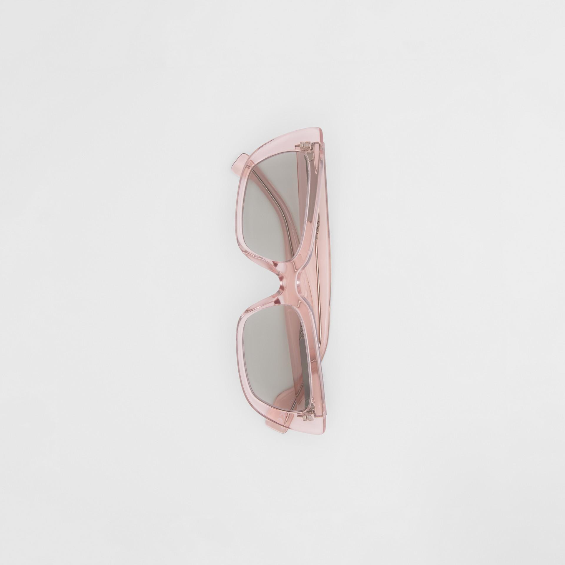 Bio-acetate Rectangular Frame Sunglasses in Light Pink - Women | Burberry - gallery image 3