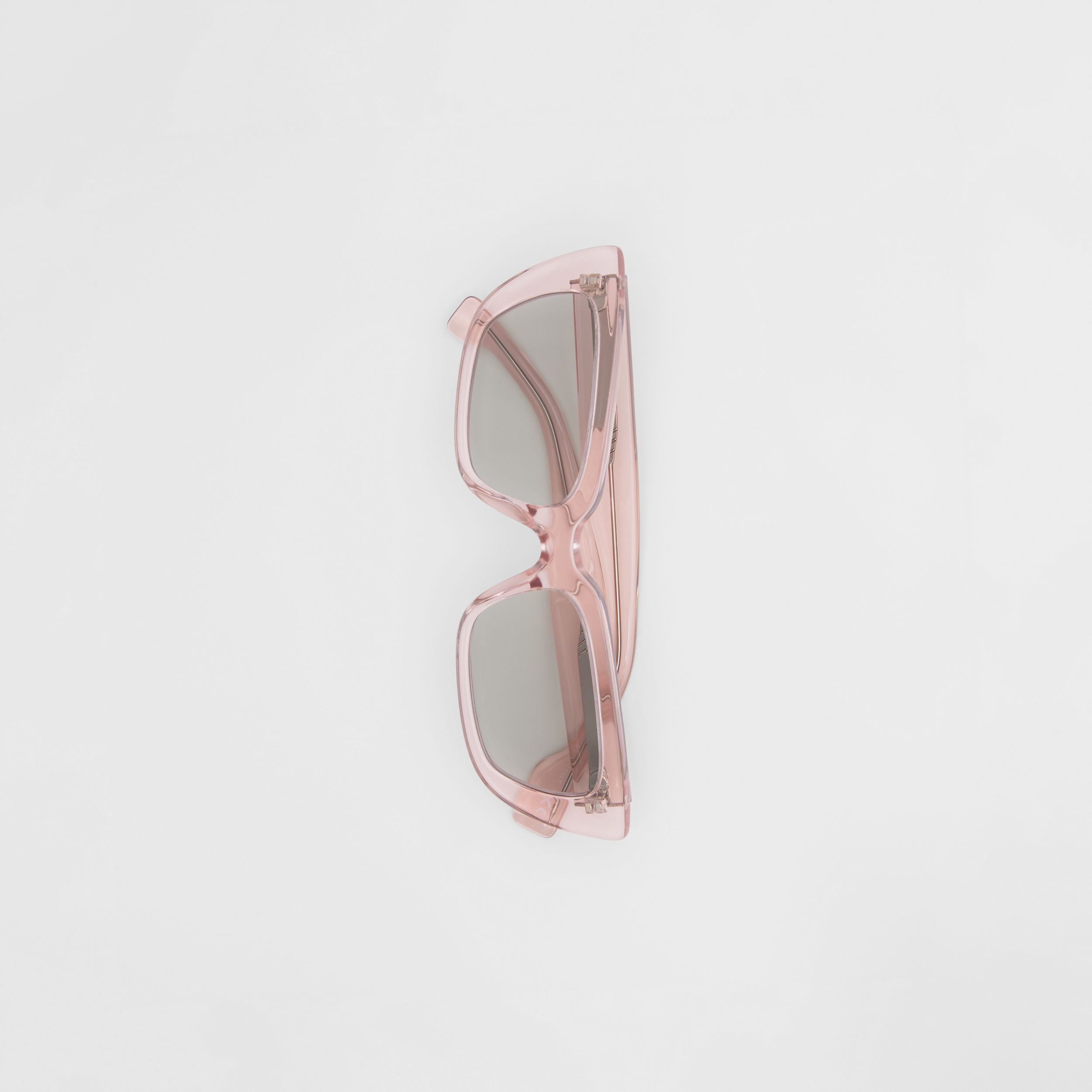 Bio-acetate Rectangular Frame Sunglasses in Light Pink - Women | Burberry - 4