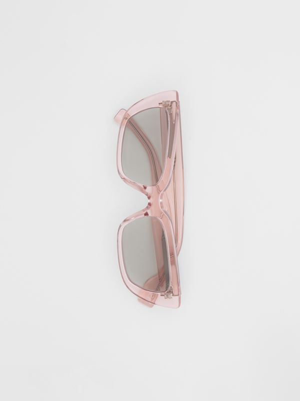 Bio-acetate Rectangular Frame Sunglasses in Light Pink - Women | Burberry - cell image 3