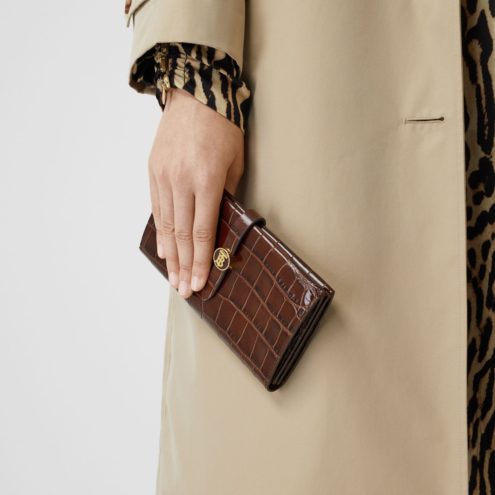 Monogram Motif Embossed Leather Folding Wallet in Tan - Women | Burberry - gallery image 2