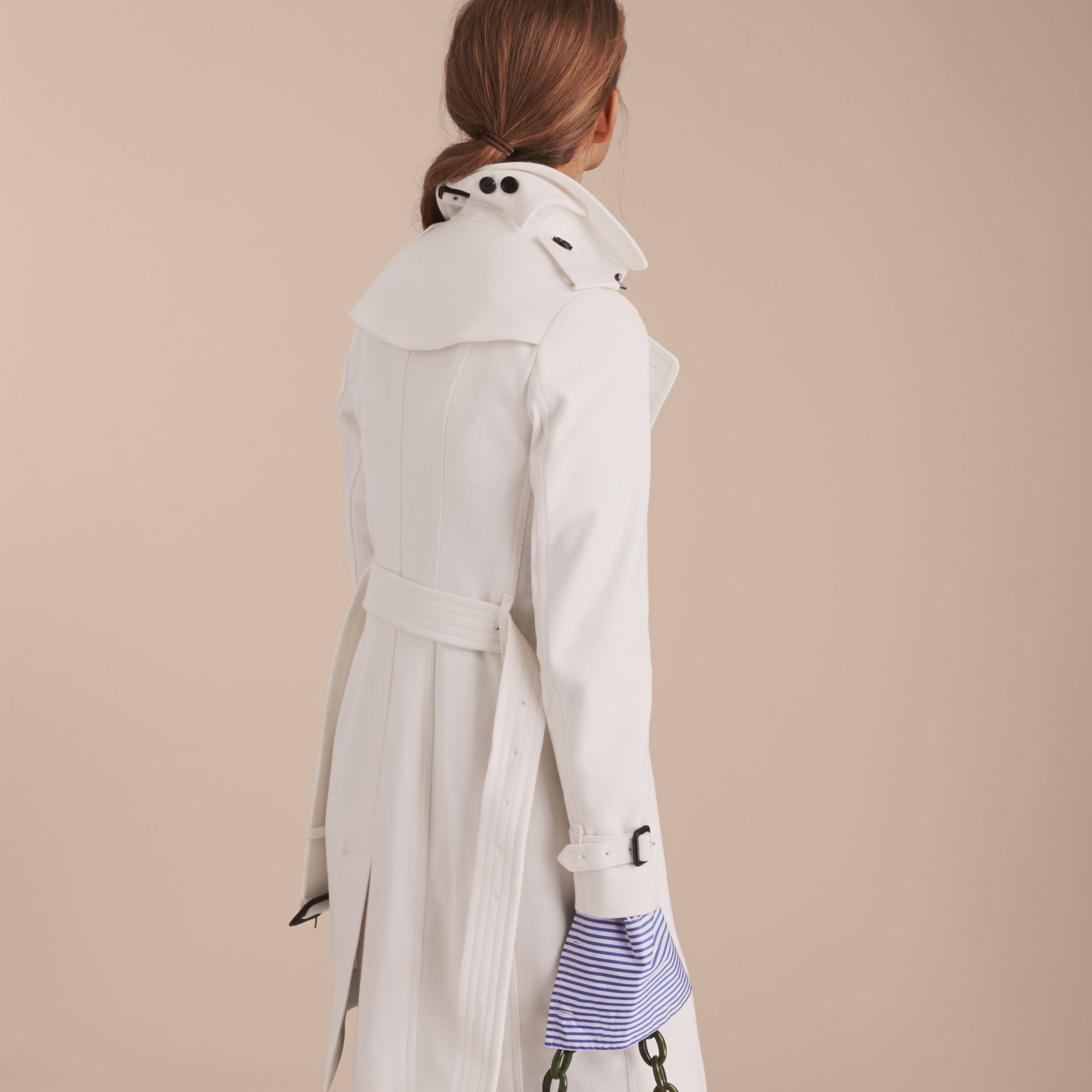 Sandringham Fit Cashmere Trench Coat in White - gallery image 3