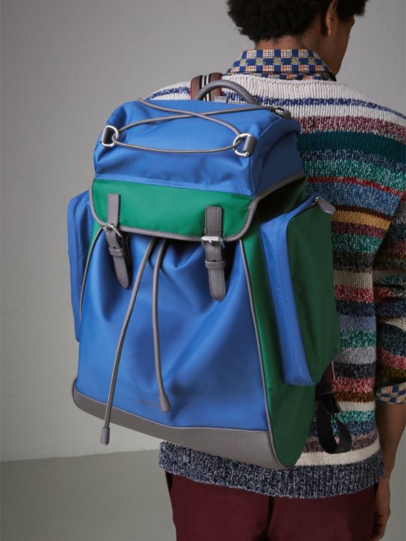Tri-tone Nylon and Leather Backpack in Dark Canvas Blue - Men | Burberry - cell image 3
