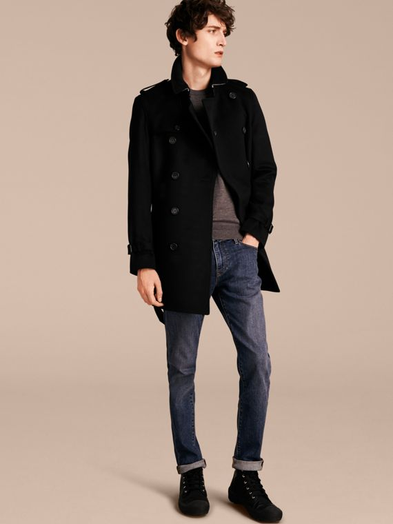 Trench coat in lana e cashmere Nero