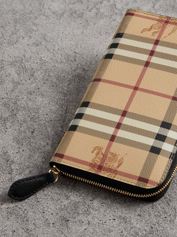Haymarket Check and Leather Ziparound Wallet in Black - Women | Burberry United Kingdom - cell image 2
