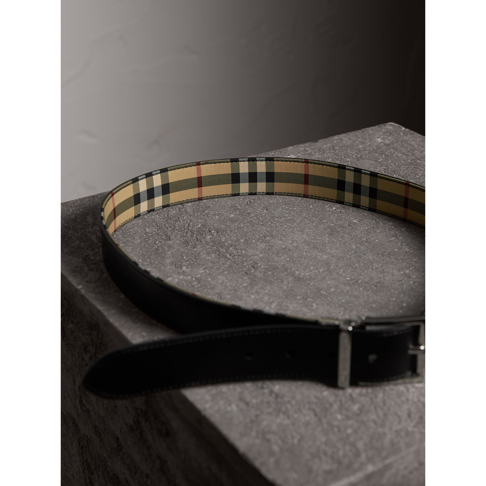 Reversible Horseferry Check and Leather Belt in Black - Men | Burberry - gallery image 5
