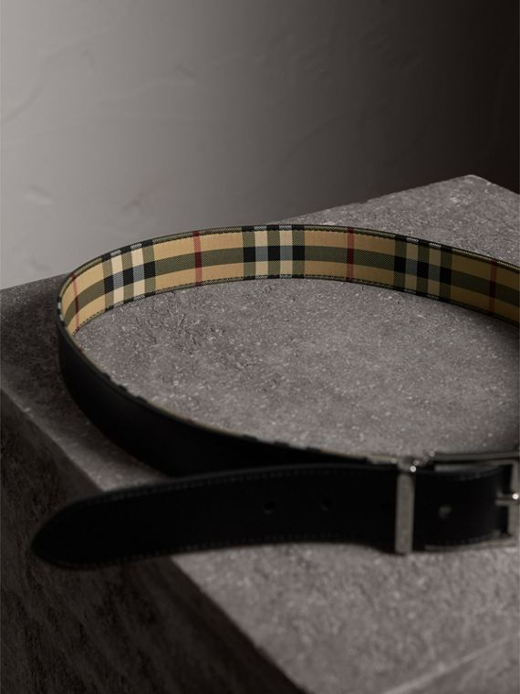 Reversible Horseferry Check and Leather Belt in Black - Men | Burberry Singapore - cell image 3