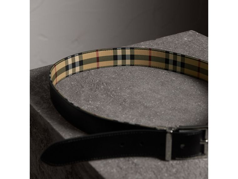 Reversible Horseferry Check and Leather Belt in Black - Men | Burberry - cell image 4
