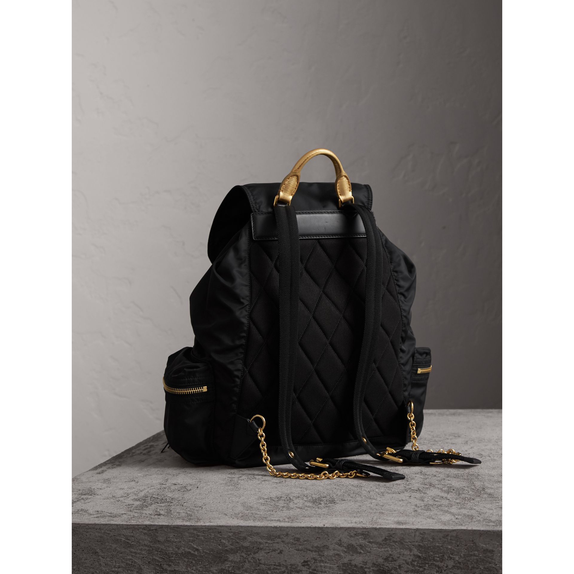 The Large Rucksack in Technical Nylon and Leather in Black/gold - Women | Burberry - gallery image 4