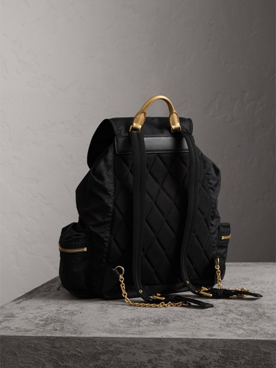 The Large Rucksack in Technical Nylon and Leather in Black/gold - Women | Burberry - cell image 3