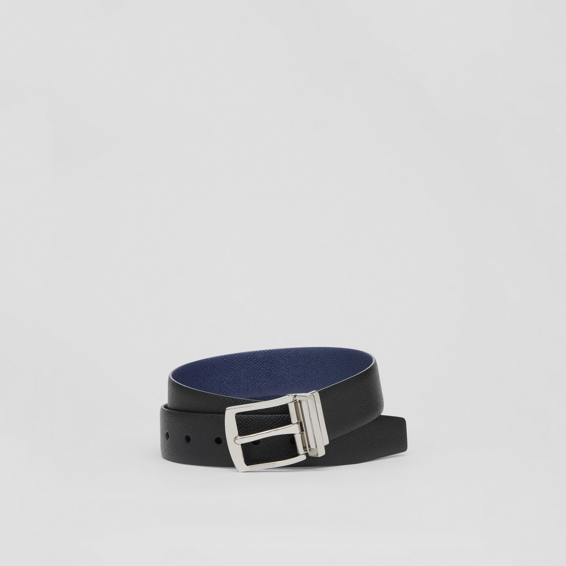 Reversible Grainy Leather Belt in Black/navy - Men | Burberry Canada - gallery image 0