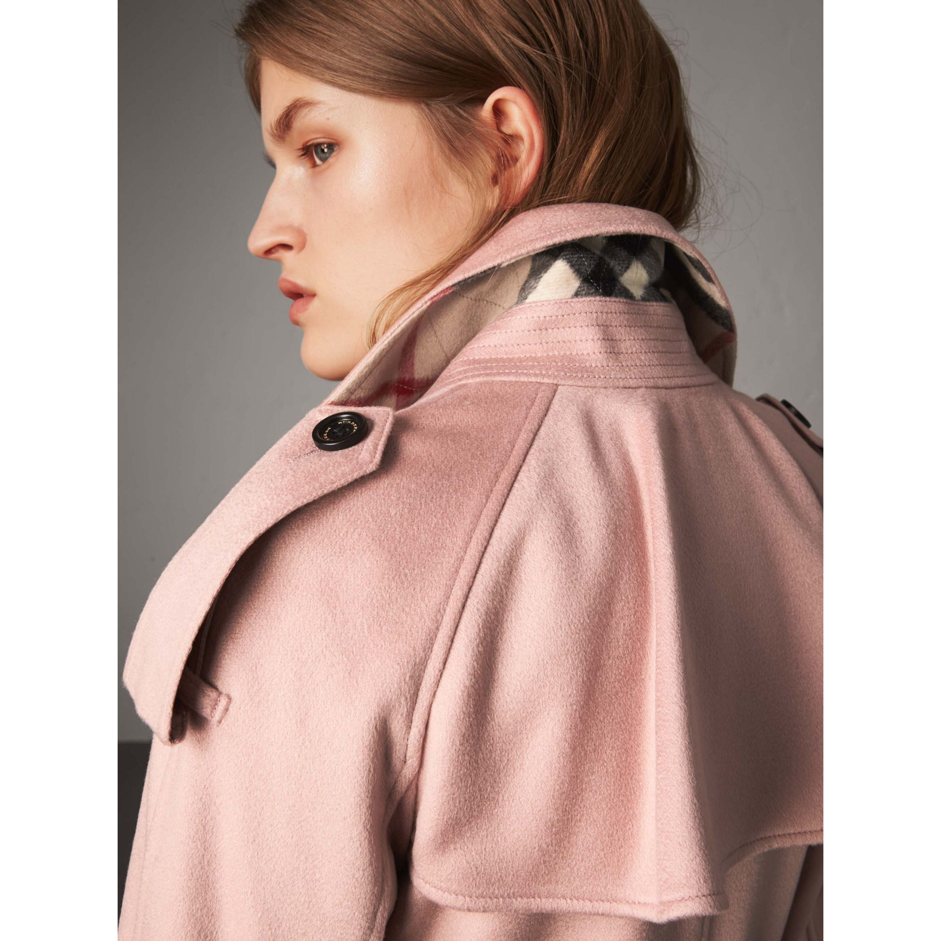Ruffled Storm Shield Cashmere Trench Coat in Chalk Pink - Women | Burberry Singapore - gallery image 5