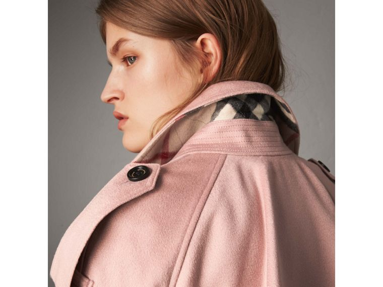 Ruffled Storm Shield Cashmere Trench Coat in Chalk Pink - Women | Burberry - cell image 4
