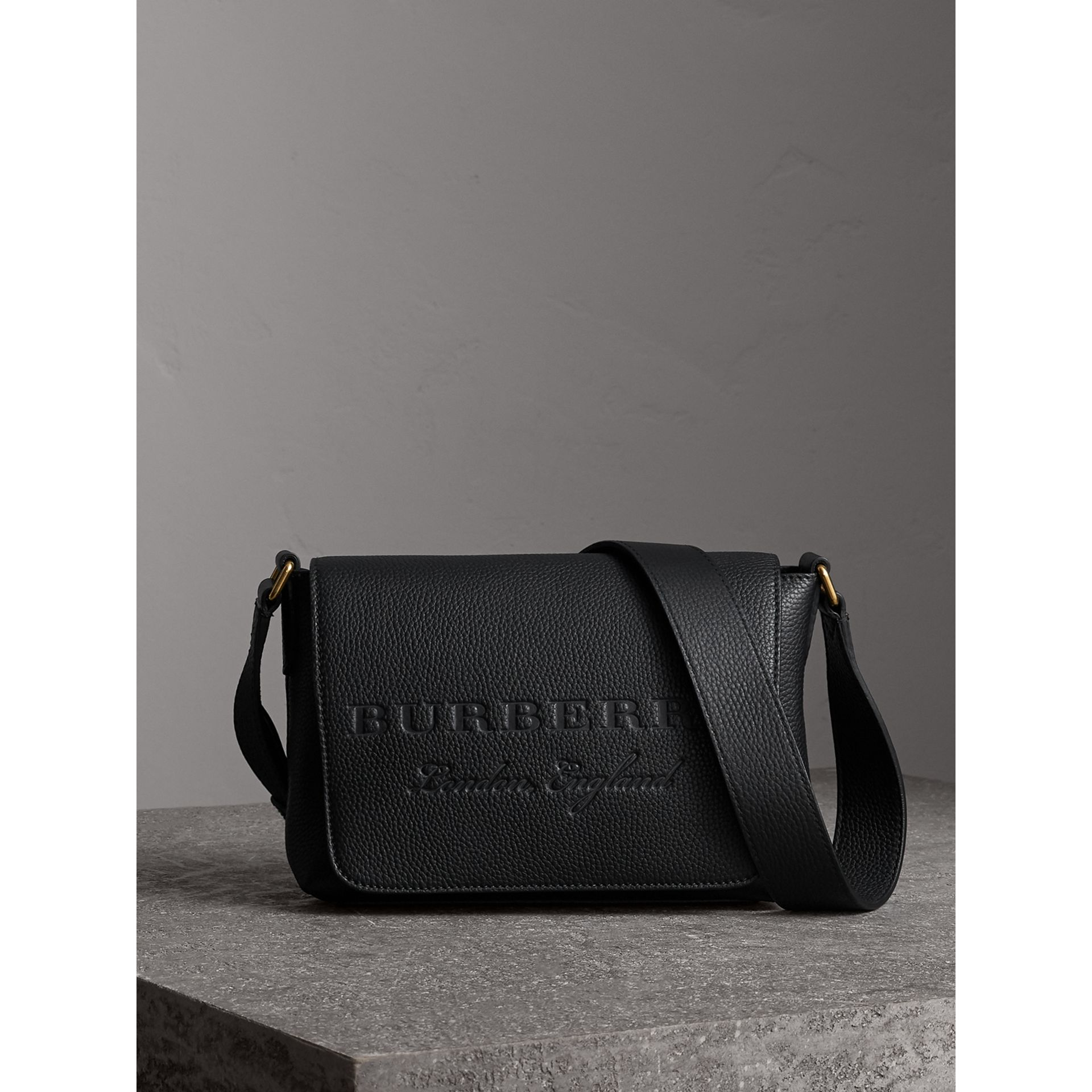 Small Embossed Leather Messenger Bag in Black - Women | Burberry - gallery image 1