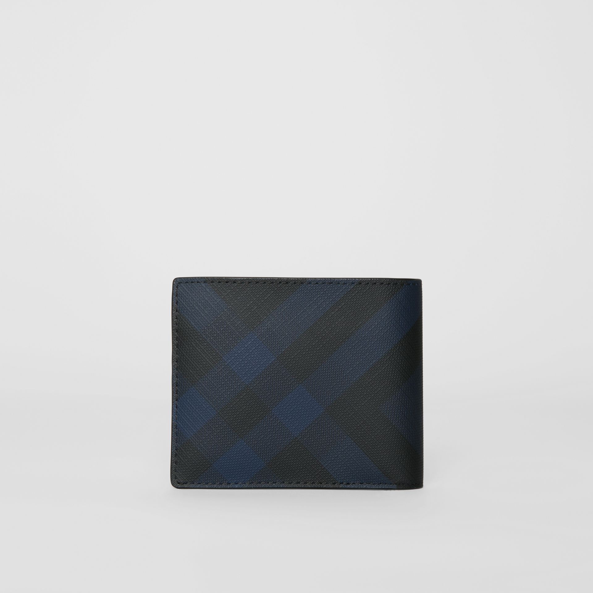 London Check Bifold Wallet with ID Card Case in Navy/black - Men | Burberry - gallery image 4