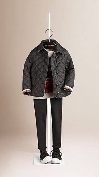 Check Lined Diamond Quilted Jacket