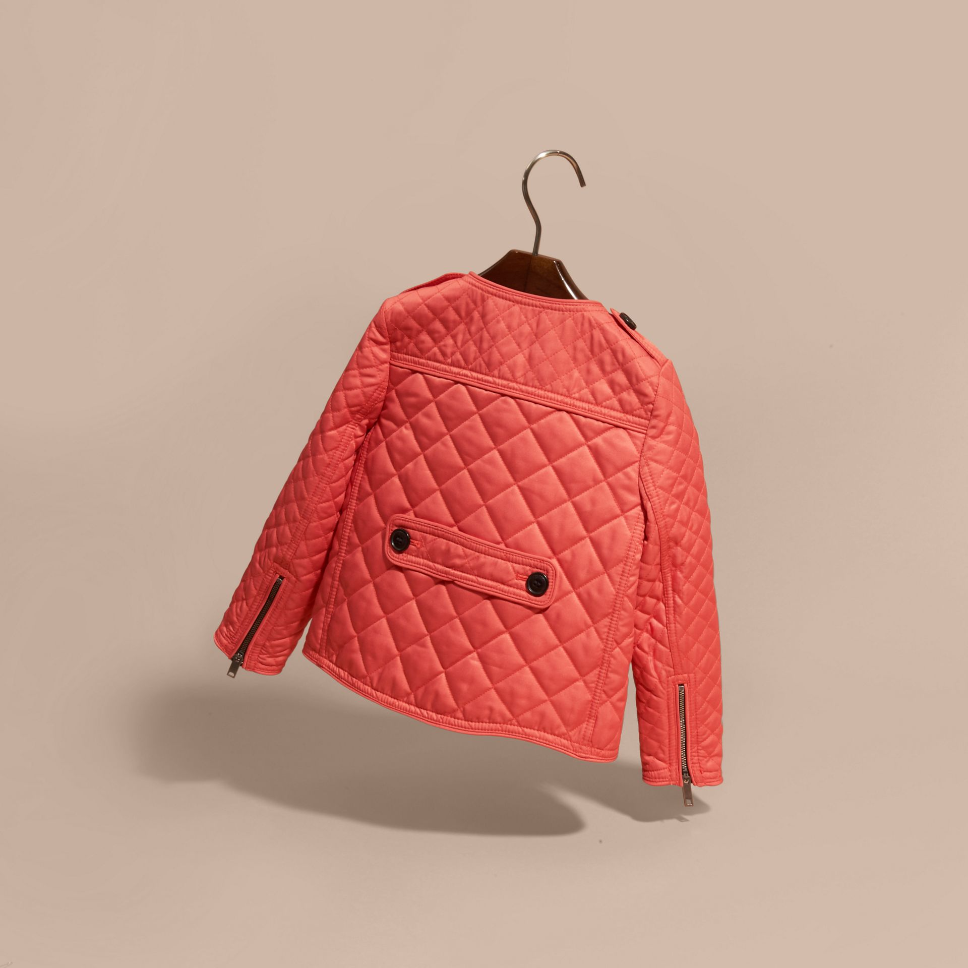 Collarless Diamond Quilted Jacket Coral Red - gallery image 4