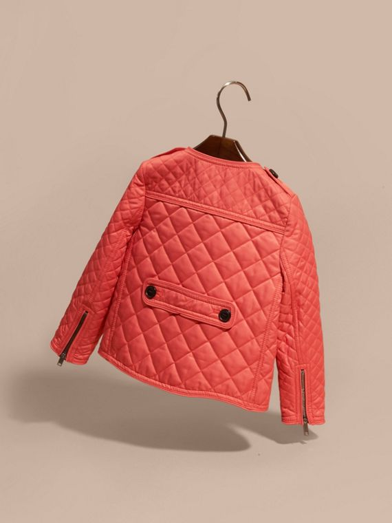 Collarless Diamond Quilted Jacket Coral Red - cell image 3