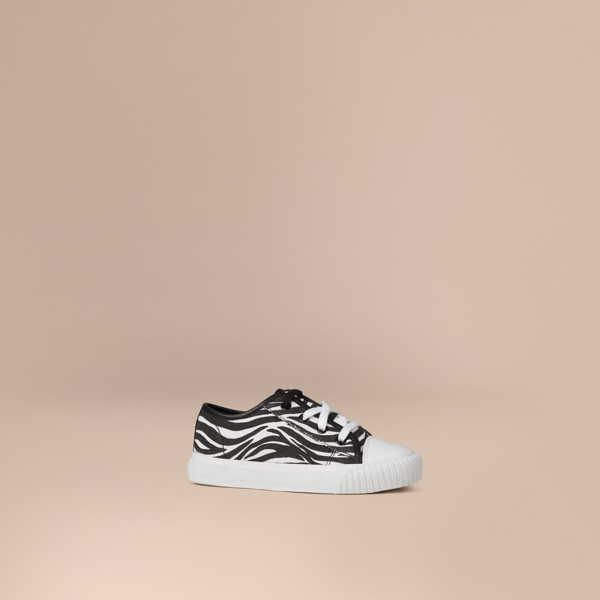 Black / white Zebra Print Canvas Trainers - gallery image 1