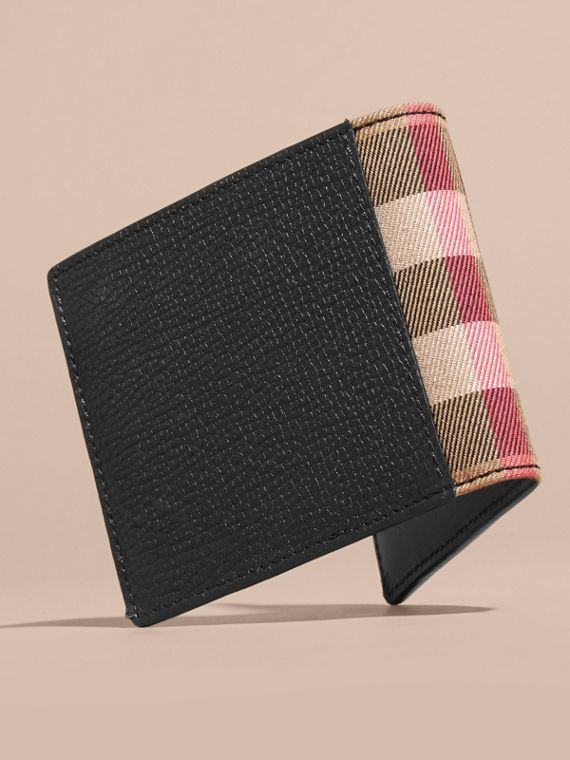 Leather and House Check International Bifold Wallet in Black | Burberry - cell image 2