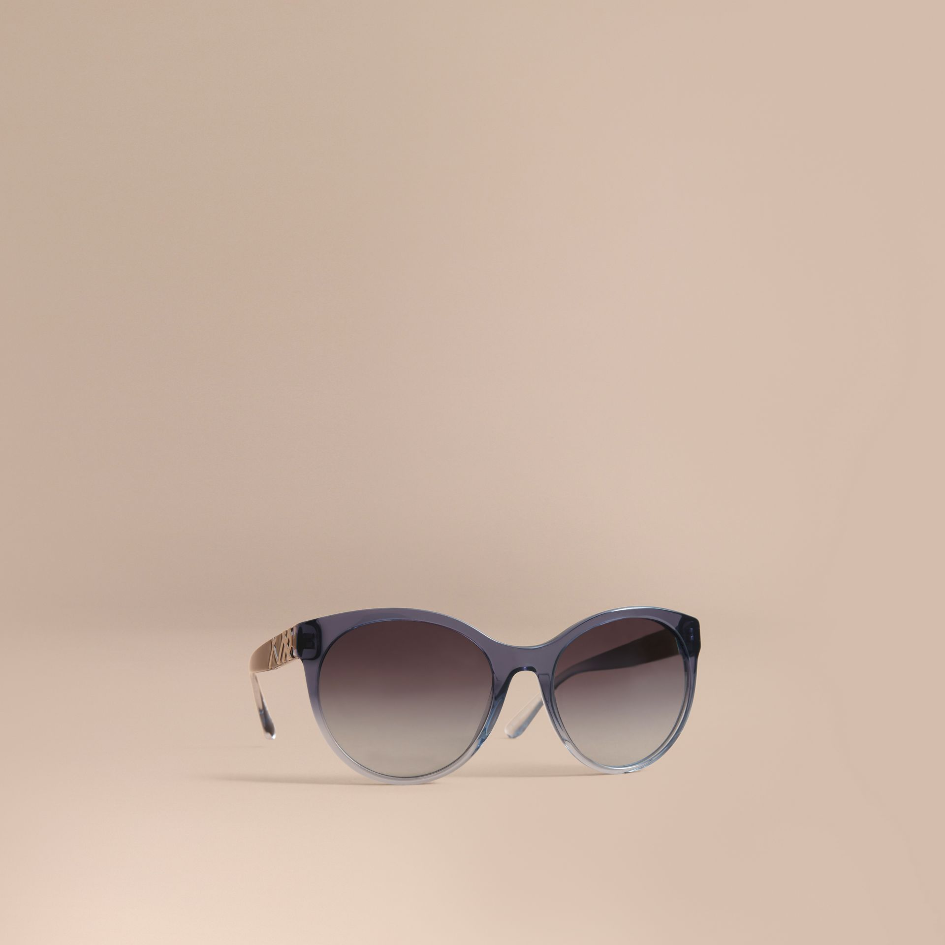 Check Detail Round Frame Sunglasses Blue - gallery image 1