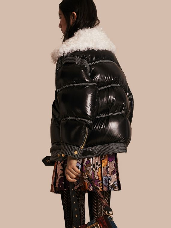 Black Down-filled Glossy Puffer with Shearling Collar - cell image 2
