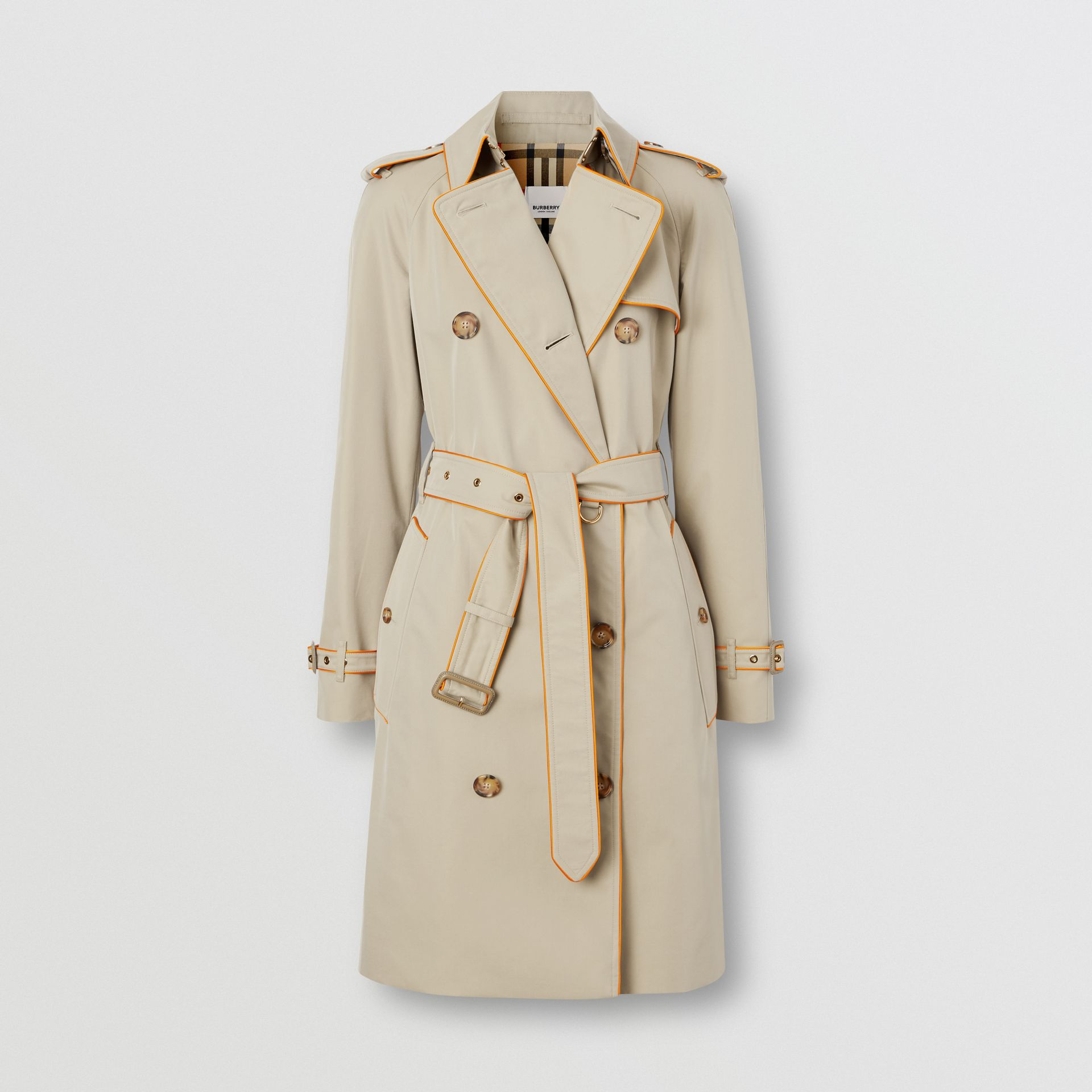 Piped Cotton Gabardine Trench Coat in Honey - Women | Burberry - gallery image 3