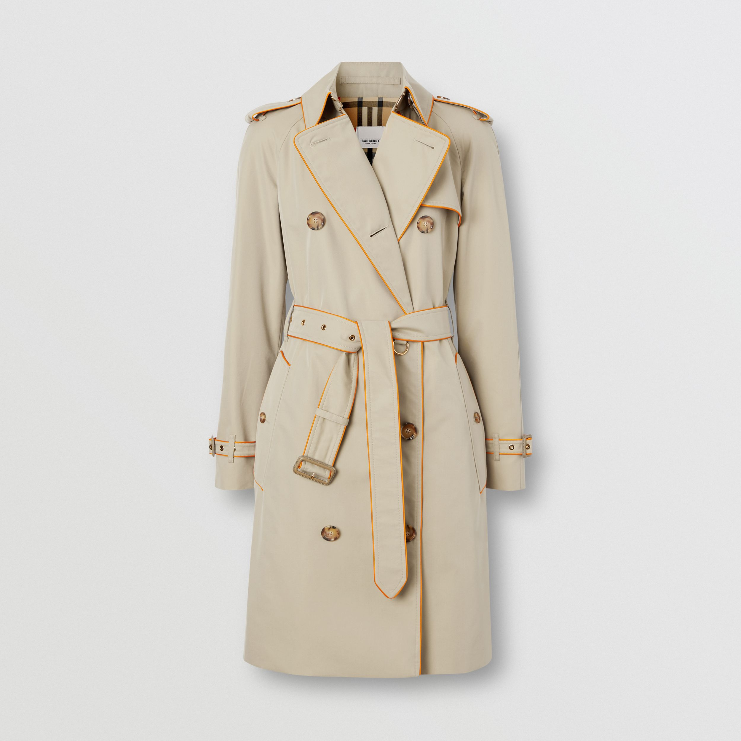 Piped Cotton Gabardine Trench Coat in Honey - Women | Burberry Canada - 4