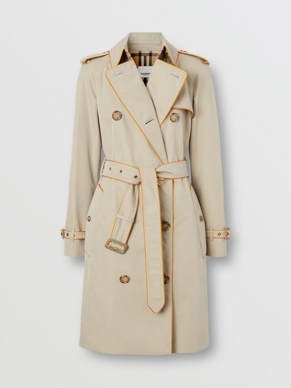Piped Cotton Gabardine Trench Coat in Honey - Women | Burberry - cell image 3