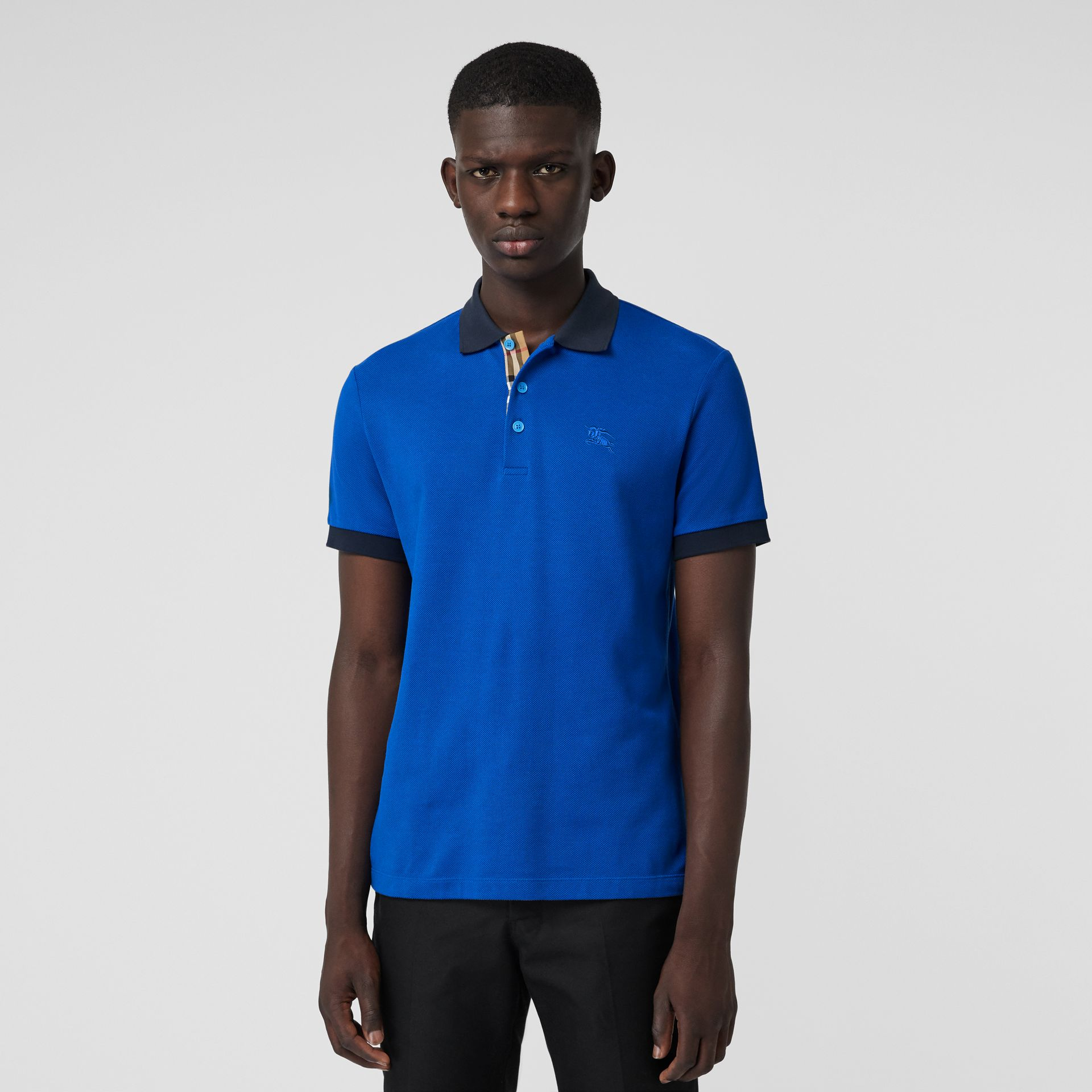 Contrast Collar Cotton Polo Shirt in Cerulean Blue - Men | Burberry United Kingdom - gallery image 4