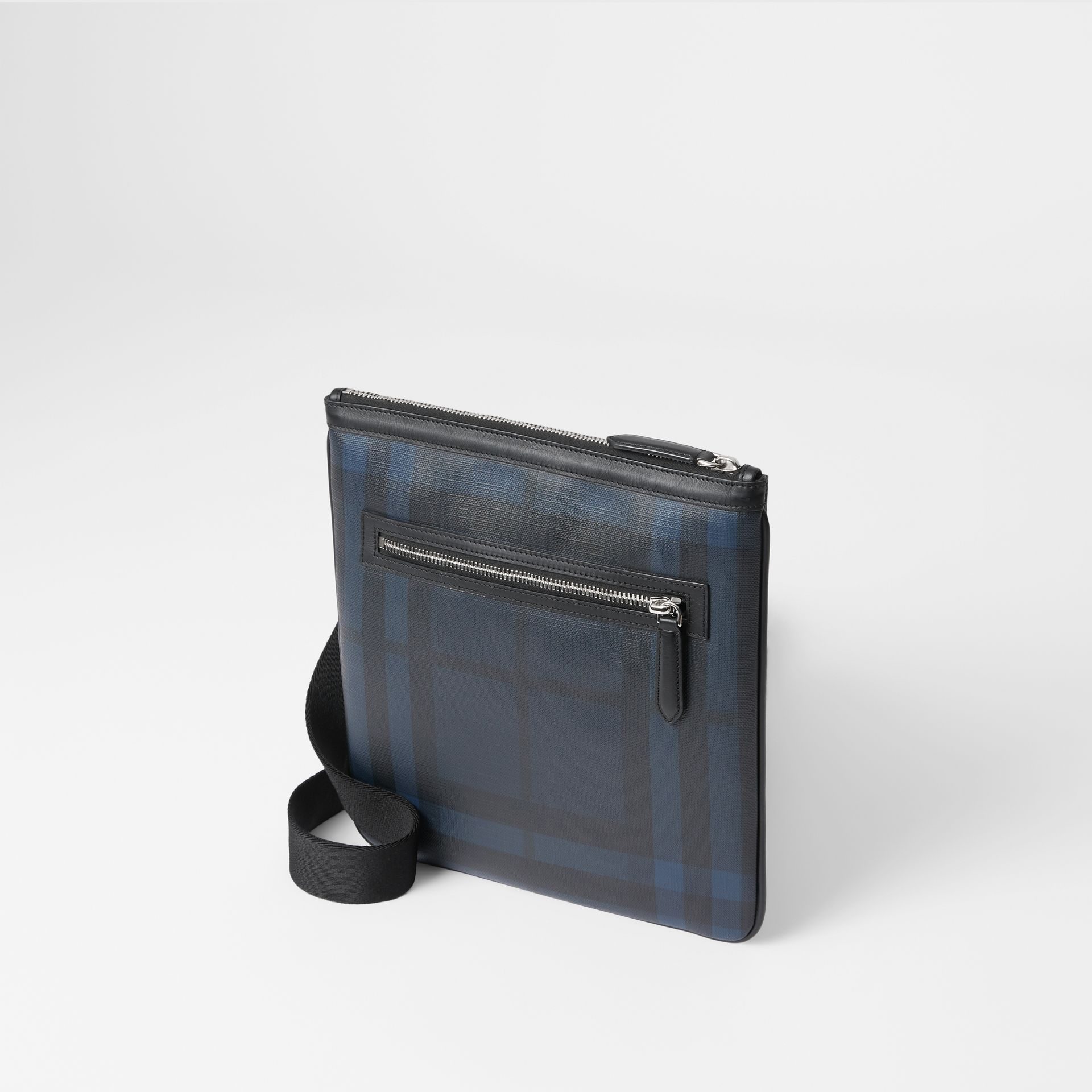 Leather Trim London Check Crossbody Bag in Navy/black - Men | Burberry - gallery image 3