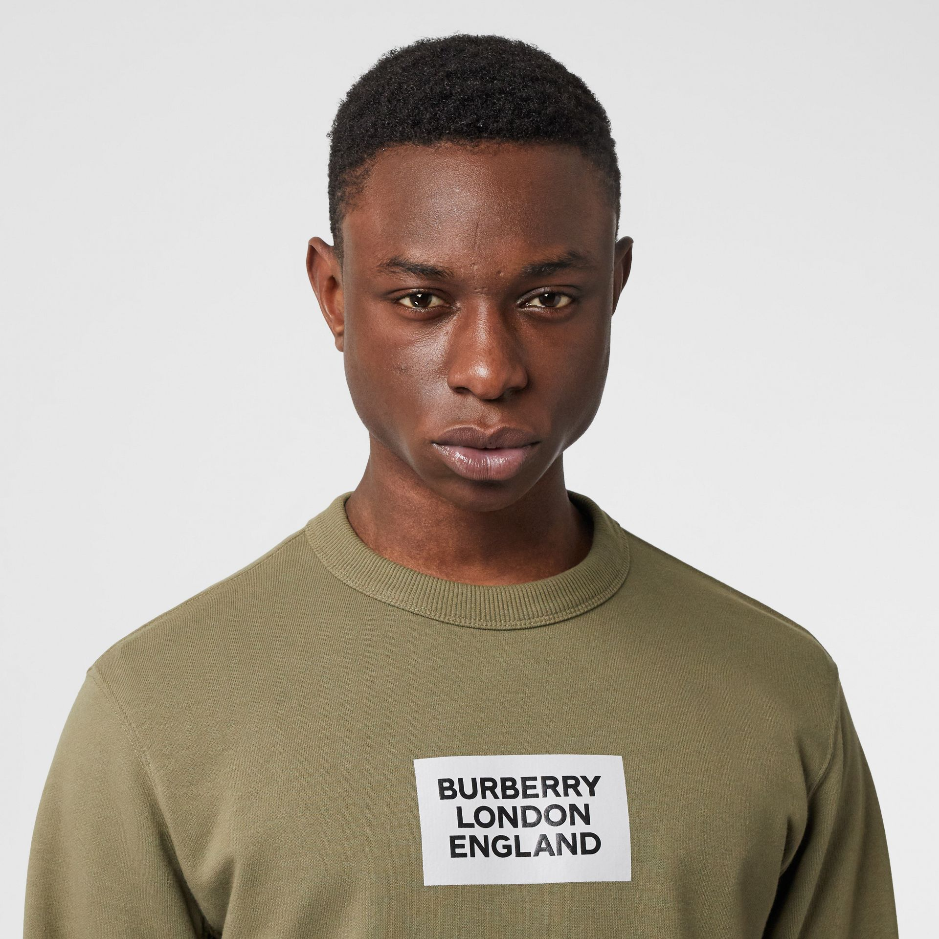 Logo Print Cotton Sweatshirt in Dark Moss - Men | Burberry Australia - gallery image 5