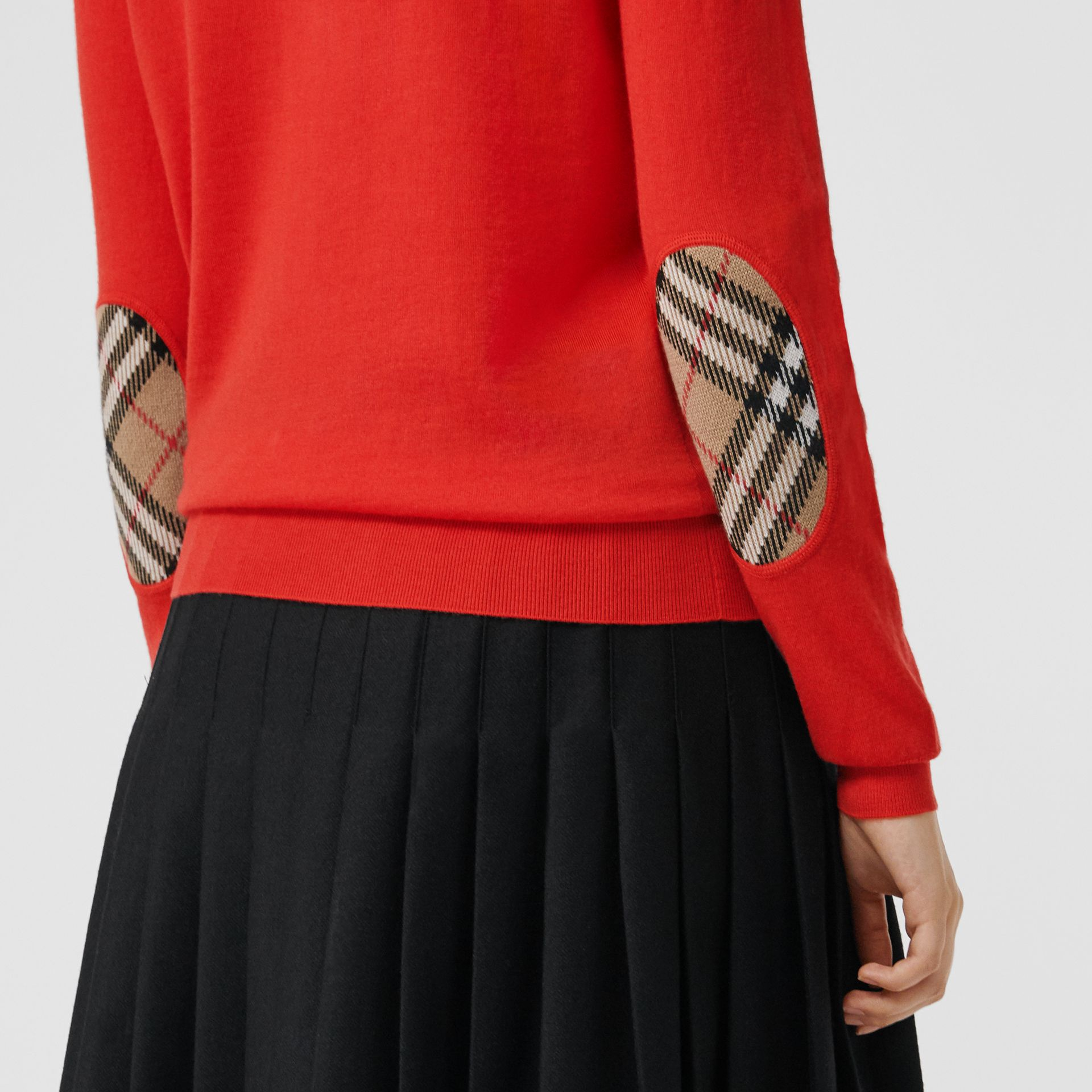 Vintage Check Detail Merino Wool Sweater in Orange Red - Women | Burberry Canada - gallery image 1