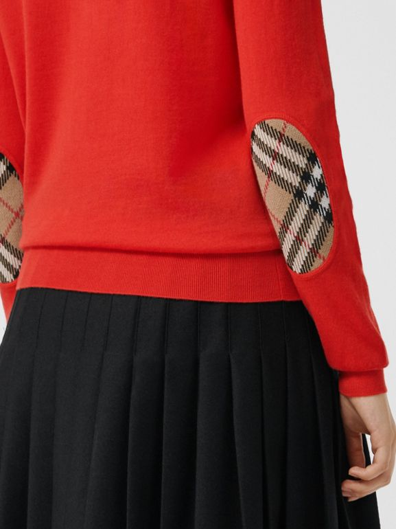 Vintage Check Detail Merino Wool Sweater in Orange Red - Women | Burberry - cell image 1