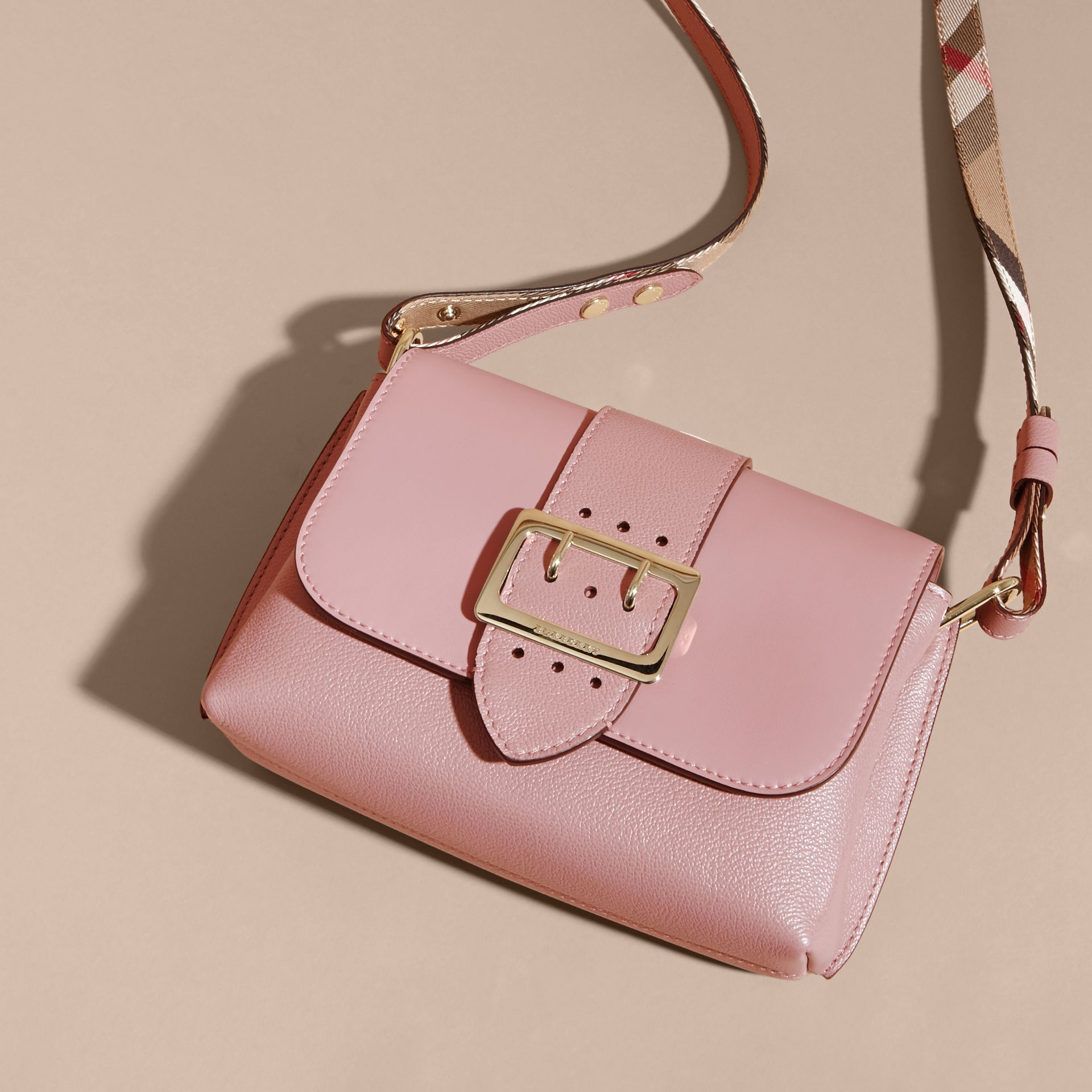 The Buckle Crossbody Bag in Leather in Dusty Pink - gallery image 8