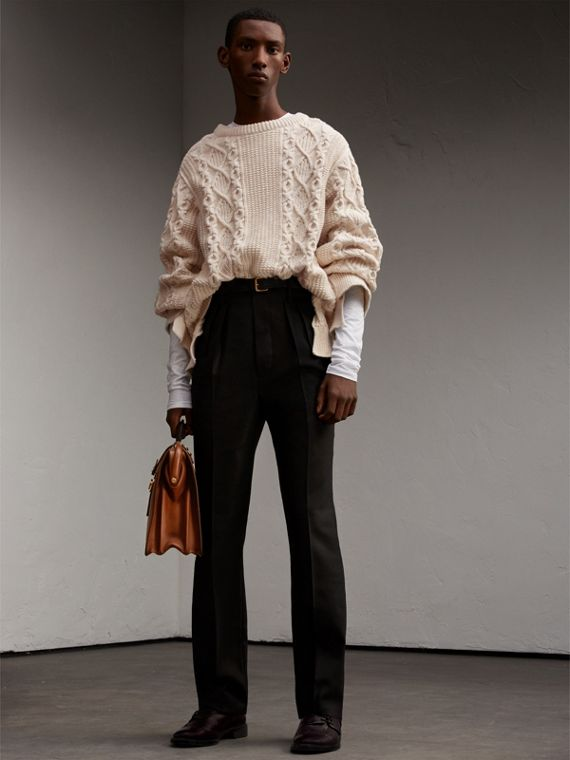 Pantalones de vestir en lana inglesa y angora con tiro alto