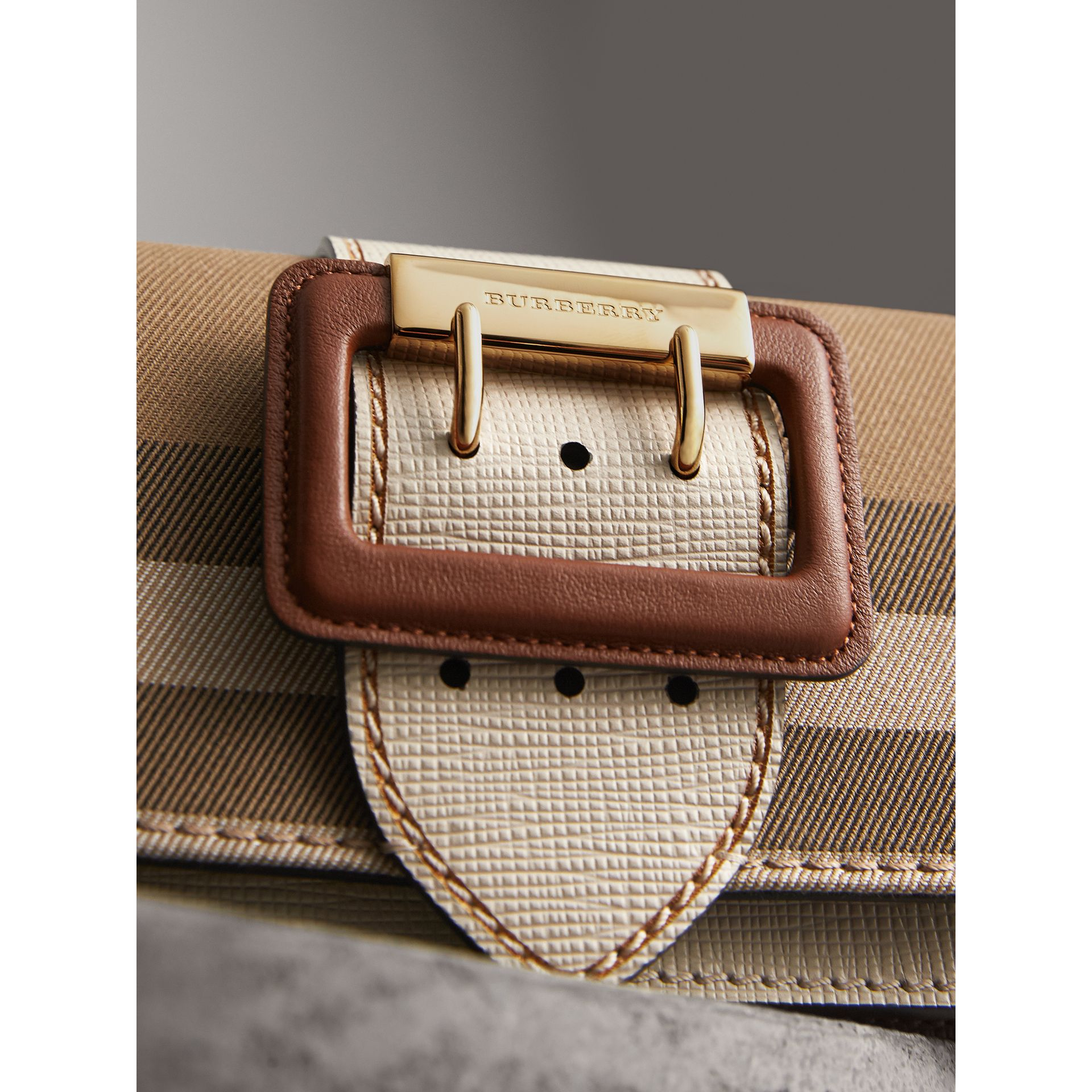 The Small Buckle Bag in House Check and Leather in Limestone - Women | Burberry - gallery image 1