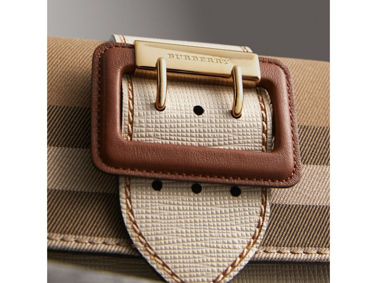 The Small Buckle Bag in House Check and Leather in Limestone - Women | Burberry Australia - cell image 1